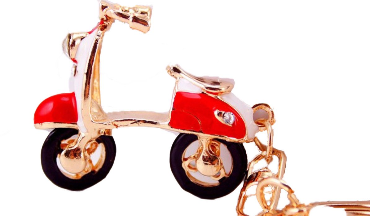SCOOTER Key Chain is Red Enamel with Faceted Crystal Headlight.& Red Rhinestone Brake Lights.Rear Wheel Moves.Gold Ring & Lobster Claw.Perfect.Gift for the Woman who Loves to Ride