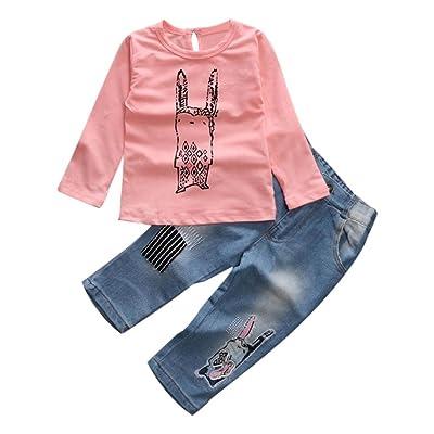 Amiley baby girl clothing sets , 1Set Toddler Baby Girls Long Sleeve T-Shirt+Denim Pants Kids Clothes
