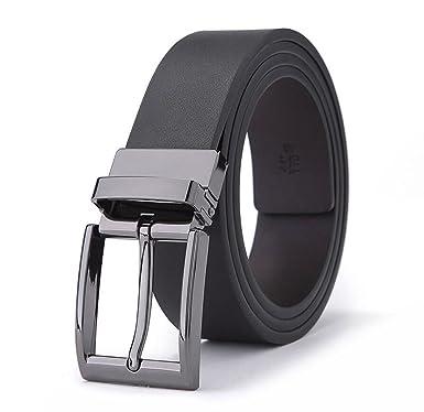 JSHFD Cinturón de cuero genuino de los hombres, Premium ...
