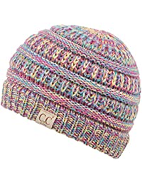 C.C Exclusives Kids Ages 2-7 Warm Chunky Thick Stretchy Knit Slouch Beanie Skull Hat (Rainbow Mix)
