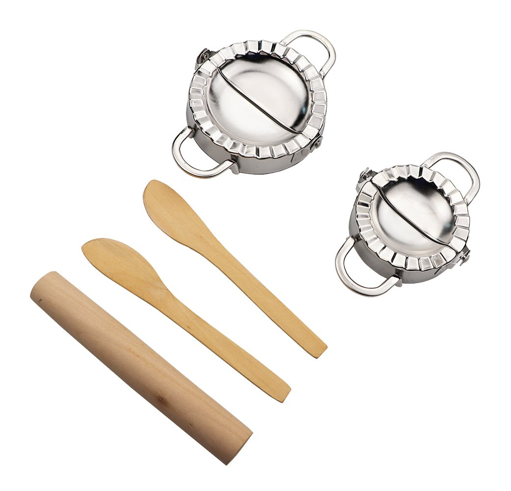 2Pcs Stainless Steel Dumpling Press Set,Pastry Dough Press and Dumpling Mold with 1 Rolling Pin 2 Wooden Spoon for Home Kitchen