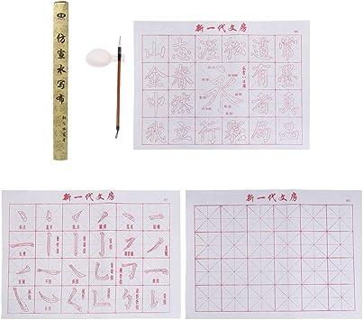 Blanc Bonarty /Écriture Chinoise Eau Magique en Tissu /Écrire Tissu Pratiquant Tapis De Bureau en Papier