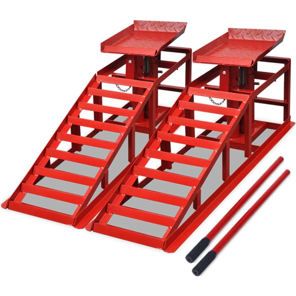 vidaXL 2x Rampe per Sollevamento Auto in Acciaio Rosso Pedane Rialzo Officina