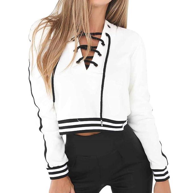 4d16733c7645 OSYARD Damen Streifen Verband Langarm Bluse, Frauen Verlieren LäSsige  V-Ausschnitt Sweatshirt T-Shirt Pullover Tops Bluse  Amazon.de  Bekleidung