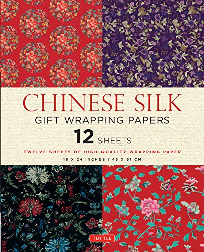 Chinese Silk Gift Wrapping Papers: 12 Sheets of 18 x 24 inch Wrapping Paper