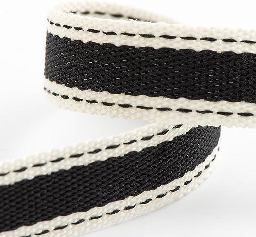 Rollo de cinta de sarga de algodón suave de 15 mm x 10 m, color negro: Amazon.es: Hogar