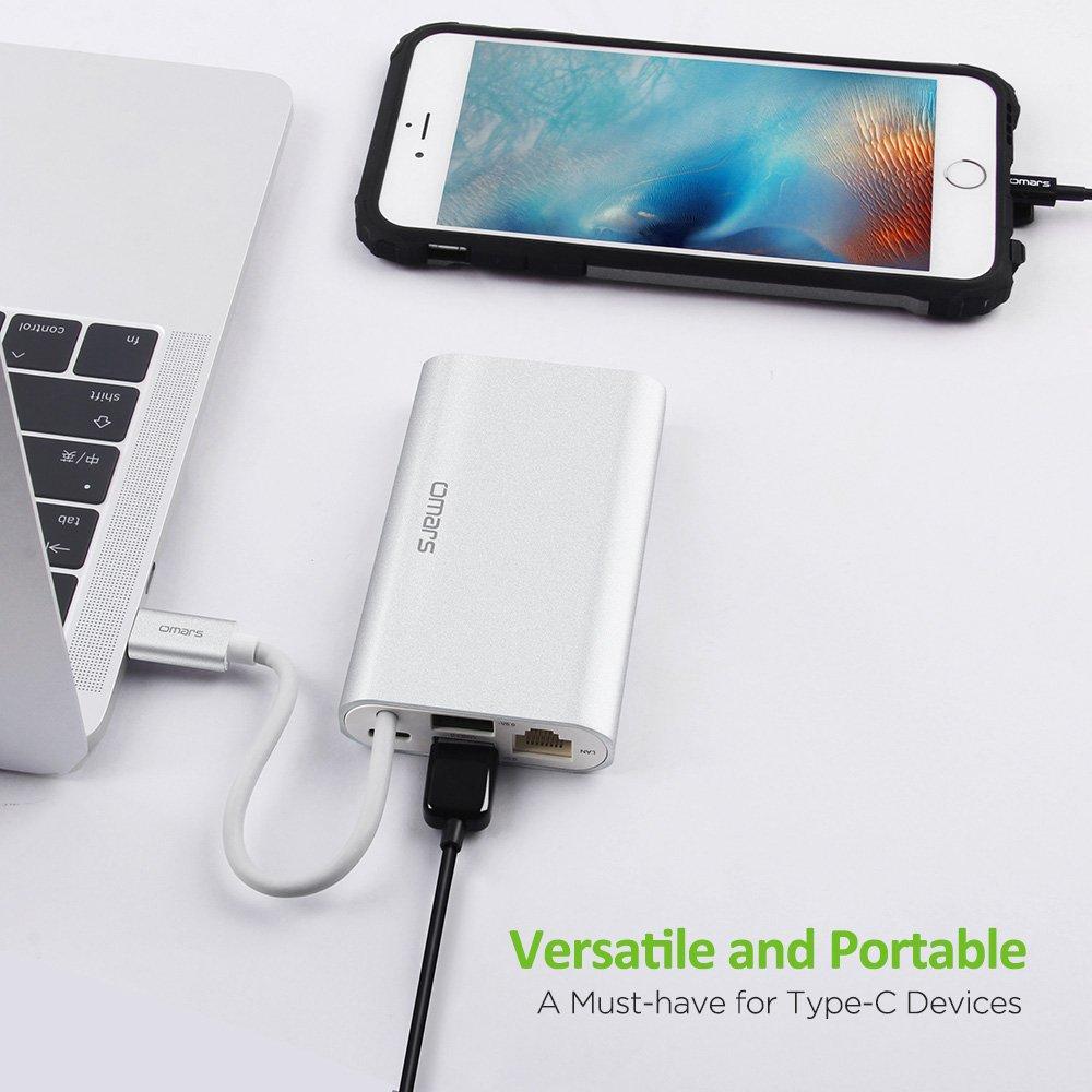 Omars USB C Hub 8 en 1 HDMI, Ethernet RJ45, USB 3.0, 4K HDMI, VGA, Tipo C PD Energía Carga y Lectores de Tarjeta SD/TF Macbook/MacBook Pro y Más