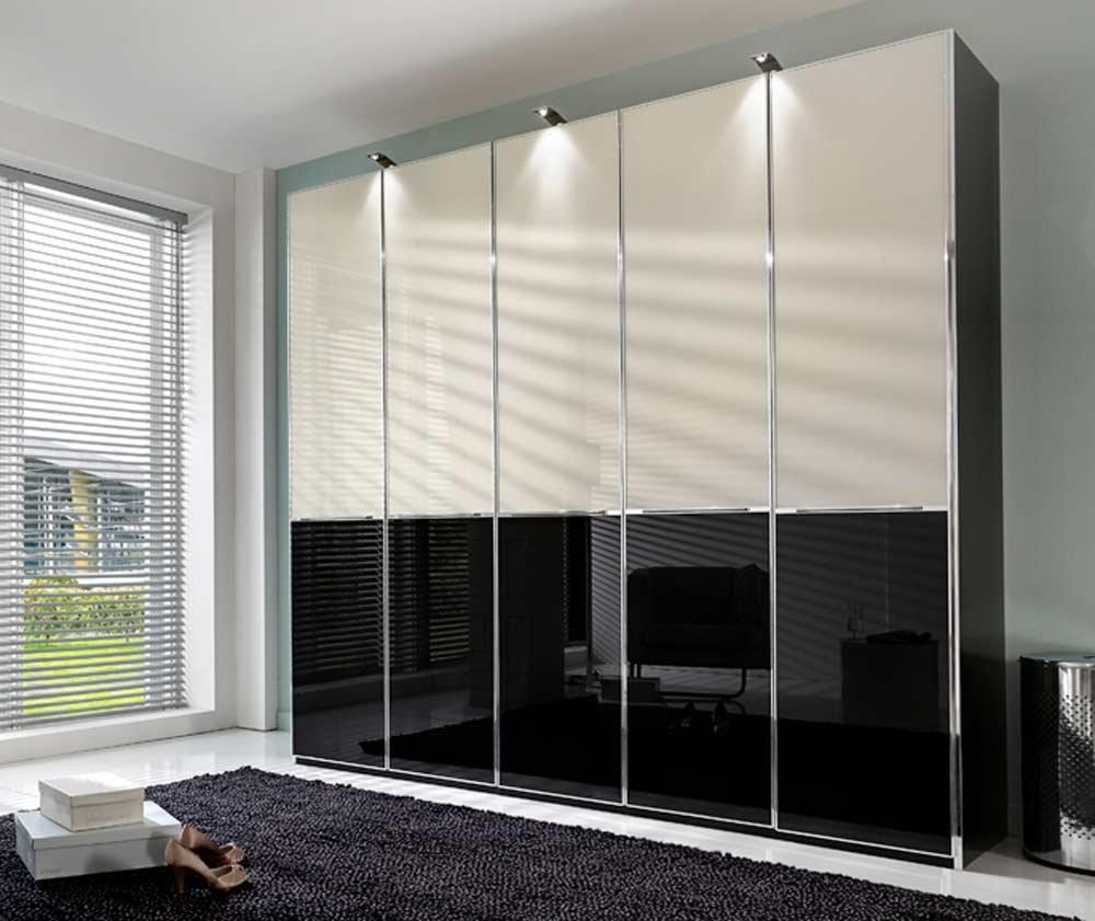 kleiderschrank in schwarz mit frontelementen aus glas in magnolie und schwarz gesamtma e b h t. Black Bedroom Furniture Sets. Home Design Ideas