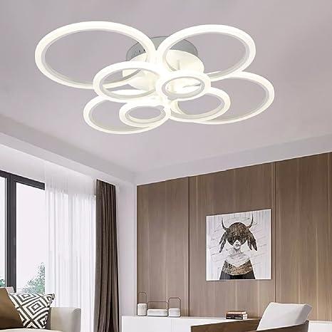 LED Ceiling Lamp Acrylic Modern Ceiling Lights Livingroom Bedroom Flush  Mounted Ceiling Light Circle 8 Rings
