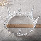 SSNUOY Silver Plated Pearl Crystal Bridal Crown