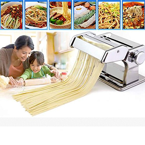 Stainless Steel Fresh Pasta Maker Roller Machine for Spaghetti Noodle Fettuccine , Home Kitchen Removable Pasta Make Noodle Making Dough Roller Machine