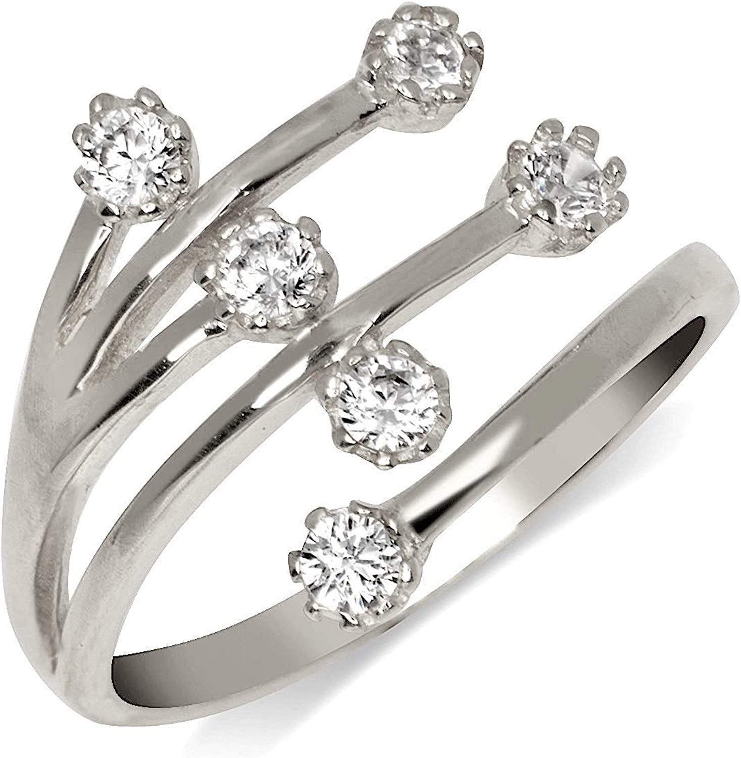 10KT Solid White Gold Toe Ring Flower CZ Cubic Zirconia Jewelry Adjustable