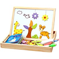Toyvian Wooden Magnetic Jigsaw Puzzles Animals Art Easel Double Sided Drawing Easel Early Educational Toys for Boys…