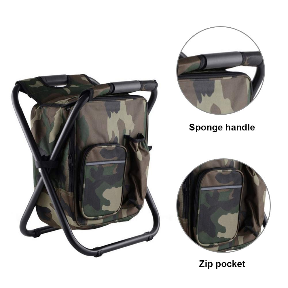 BVAGSS Ultralight Backpack Cooler Chair Folding Stool for Outdoor Events Tailgating Hiking Beach Parades BN009 Camping Travel