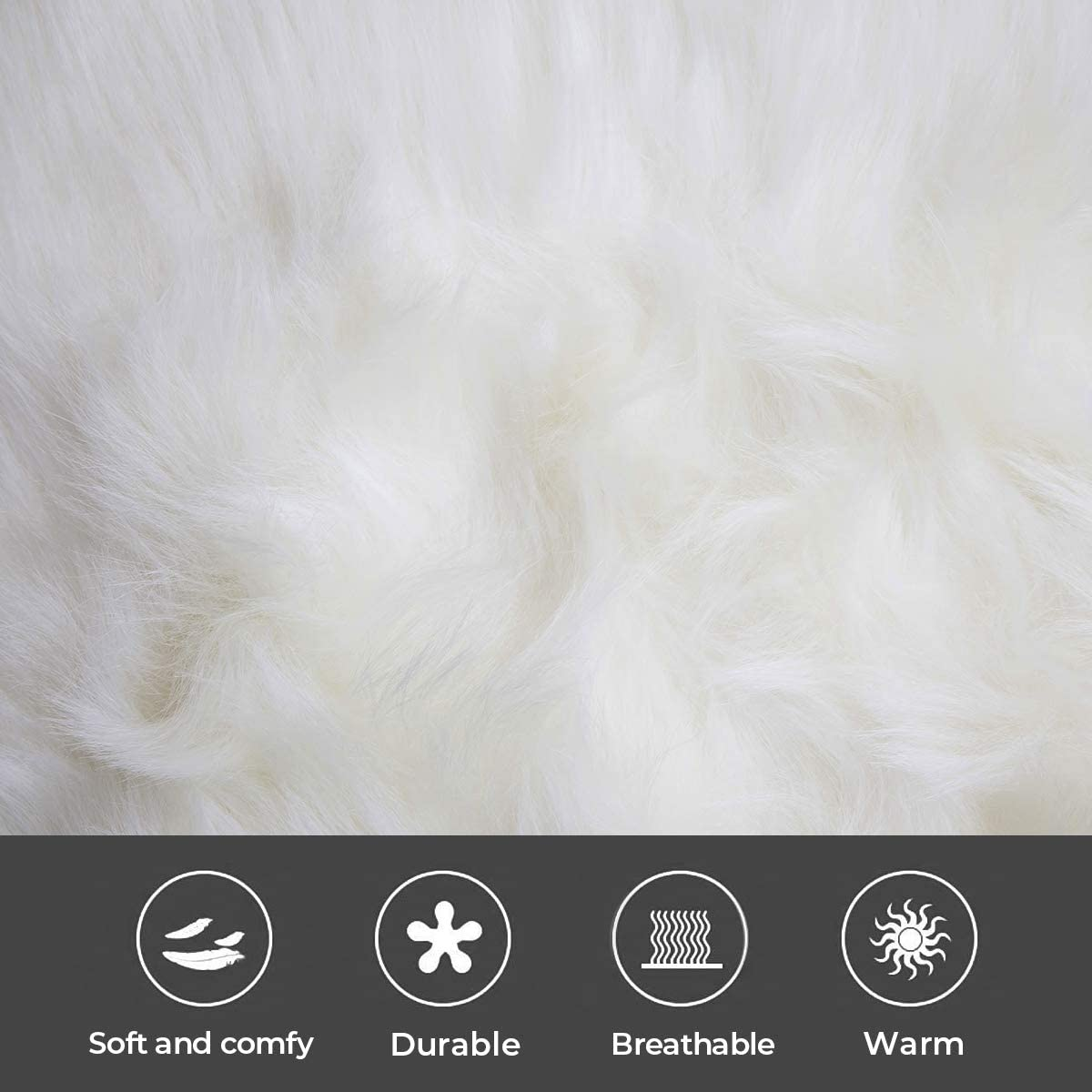 HYSEAS Faux Sheepskin Fur Area Rug White, 3×5 Feet Rectangle, Fluffy Soft Fuzzy Plush Shaggy Carpet Throw Rug for Indoor Floor, Sofa, Chair, Bedroom, Living Room, Home Decoration