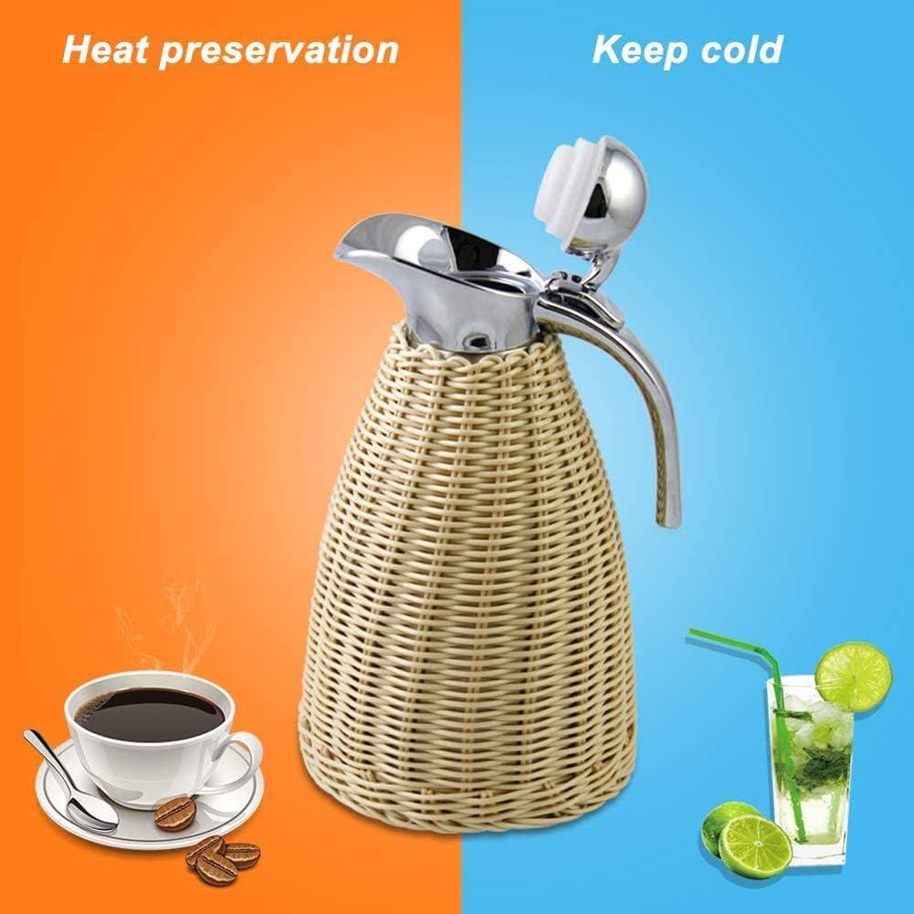 garder les boissons chaudes ou froides,pour bureau cuisine domici Pot disolation sous vide Pot /à caf/é /à double paroi Th/é Th/é Bouilloire thermique Bouilloire thermique en acier inoxydable B