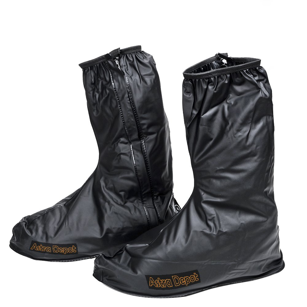 Astra Depot US 10-11/Euro 44-45 Motorcycle Waterproof Protective Gear Rain Boot Shoe Cover Zipper