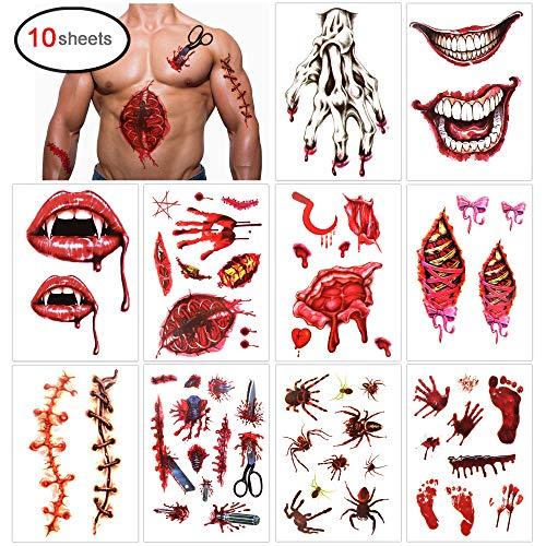 Konsait Halloween Temporary Tattoos(10 Sheets),Halloween Bleeding Wounds Scar