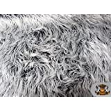 Faux Fur Mongolian Frosted 2 Tone Grey White / Bty