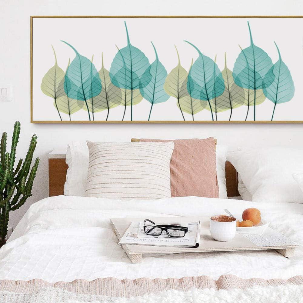 LEFULAN Elegante Poesía Nórdica Simple Pancartas De Hojas Amarillas Y Verdes Lienzo Pintura Impresión del Arte Cartel Imagen Pared Dormitorio -40X120Cm