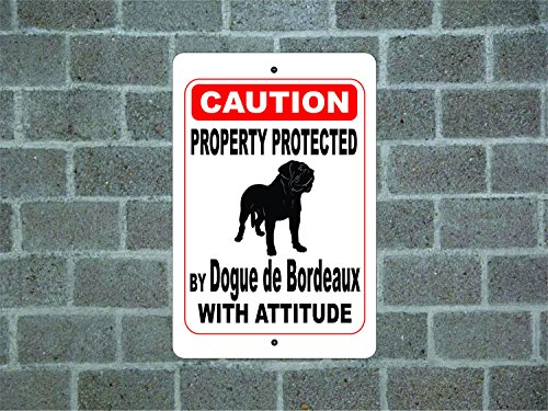Teisyouhu Funny Dog Signs Property Protected By Dogue De Bordeaux Guard Dog Warning Breed Metal Aluminum Sign for Garage Home Yard Fence (Bordeaux Metal)