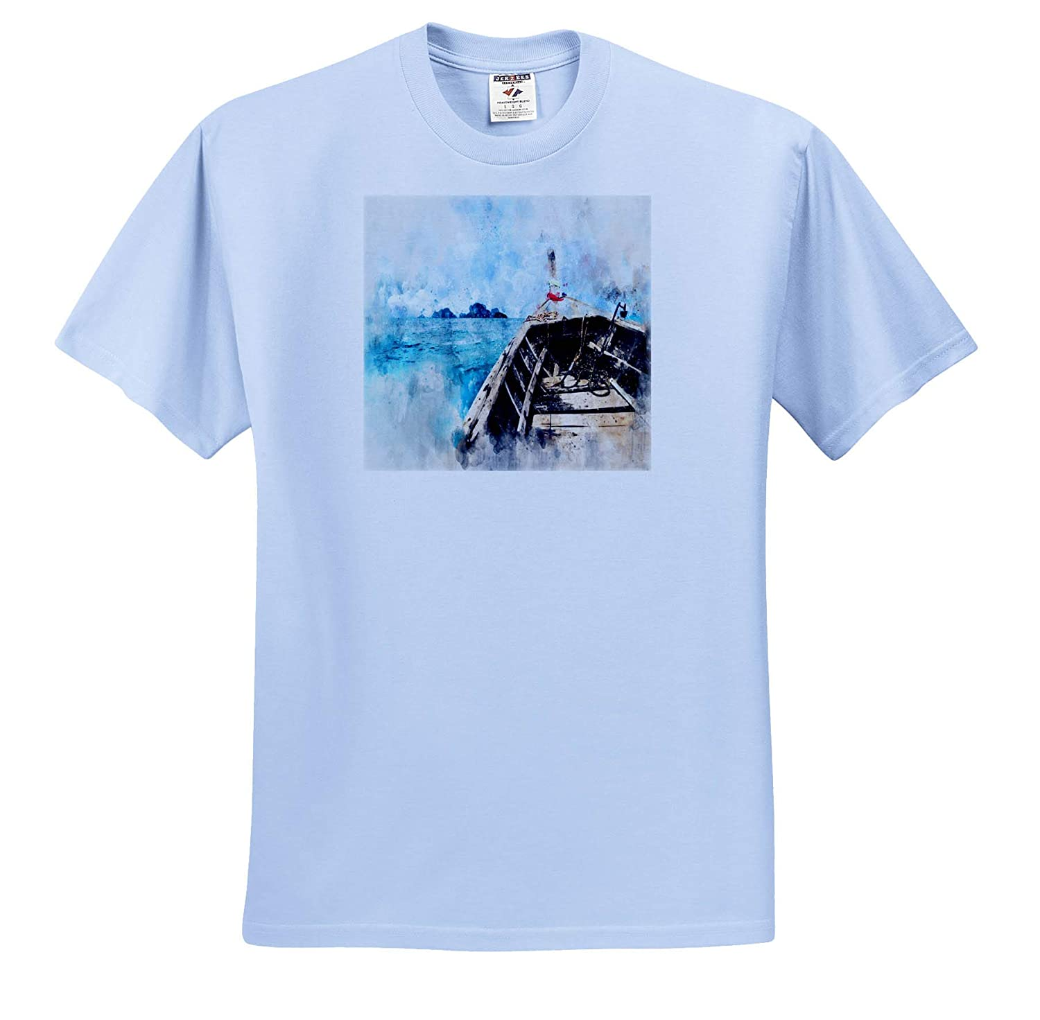 Image of Painting of Working Boat Headed to Island 3dRose Lens Art by Florene Watercolor Art T-Shirts