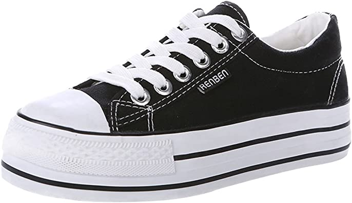 Team Women Lace Up All Black Canvas Sneaker