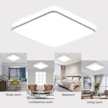 Amazon.com: Holmark 24W Square LED Ceiling Down Light Flush ...