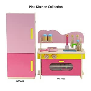 "18 Inch Doll Furniture | Kitchen Oven/Stove/Sink Combo and Refrigerator Value Pack with Over 20 Wooden Food Pieces and Accessories | Fits 18"" American Girl Dolls (Light Pink, Dark Pink, Yellow)"