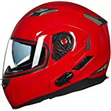 ILM Bluetooth Integrated Modular Flip up Full Face Motorcycle Helmet Sun Shield Mp3 Intercom (L, RED)