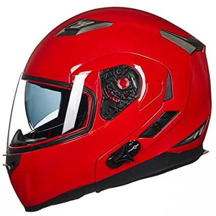 87a7c2f0 Amazon.com: ILM Bluetooth Integrated Modular Flip up Full Face Motorcycle  Helmet Sun Shield Mp3 Intercom (XL, RED): Automotive