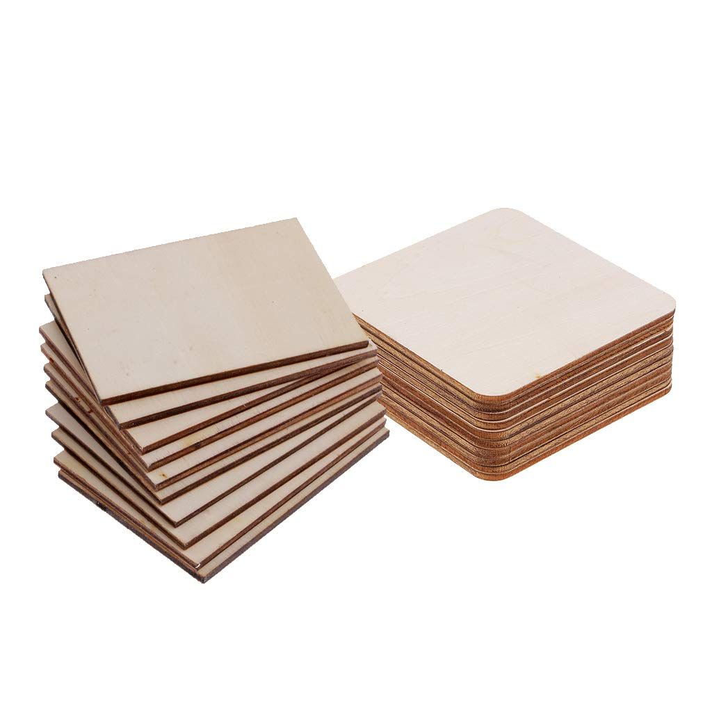 Fityle 20 Pieces Wooden Square Rectangle Shapes Coasters Plain Wood Craft Blanks Square Plaque Sign DIY Pyrography Art Craft Woodworking Materials