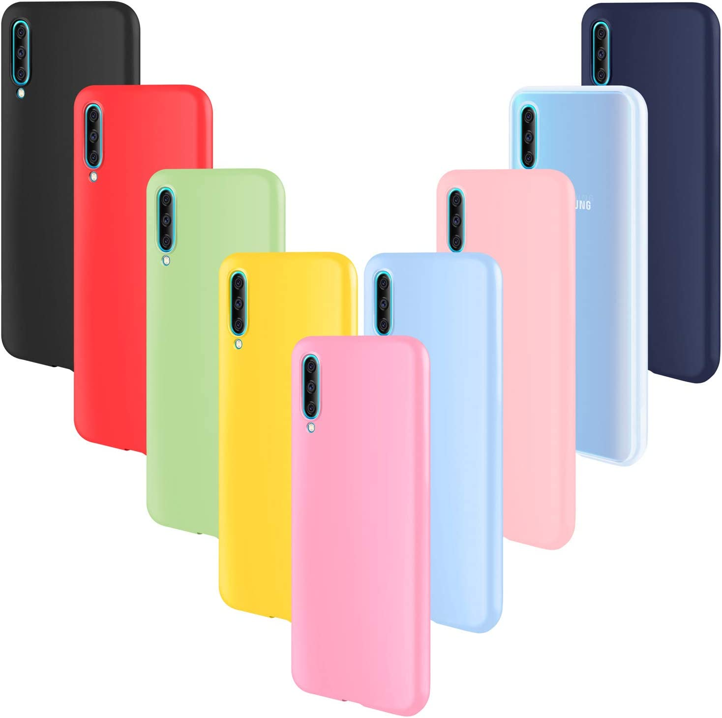 ivencase 9 × Funda Samsung Galaxy A50, Carcasa Fina TPU Flexible Cover para Samsung Galaxy A50 (Rosa Gris Rosa Claro Amarillo Rojo Azul Oscuro Translúcido Negro Azul Claro)