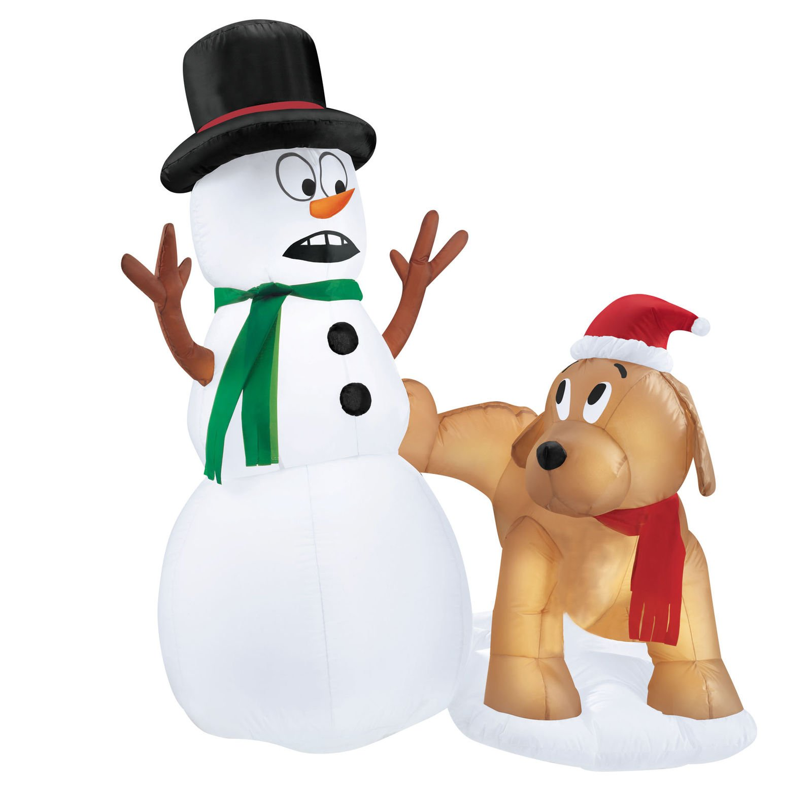 Christmas Inflatable Dog Pees on Snowman Pre-Lit Yard Indoor Outdoor Decoration Xmas Décor