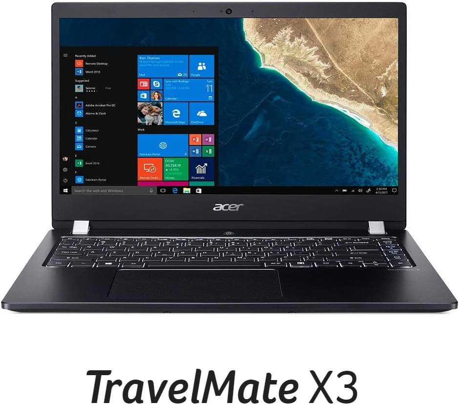 "Acer TravelMate X3 Thin & Light Business Laptop, 14"" FHD IPS, Intel Core i3-8130U, 8GB DDR4, 128GB SSD, 15 Hrs Battery, Win 10 Pro, TPM 2.0, Mil-Spec, Fingerprint Reader, TMX3410-M-30Q6"