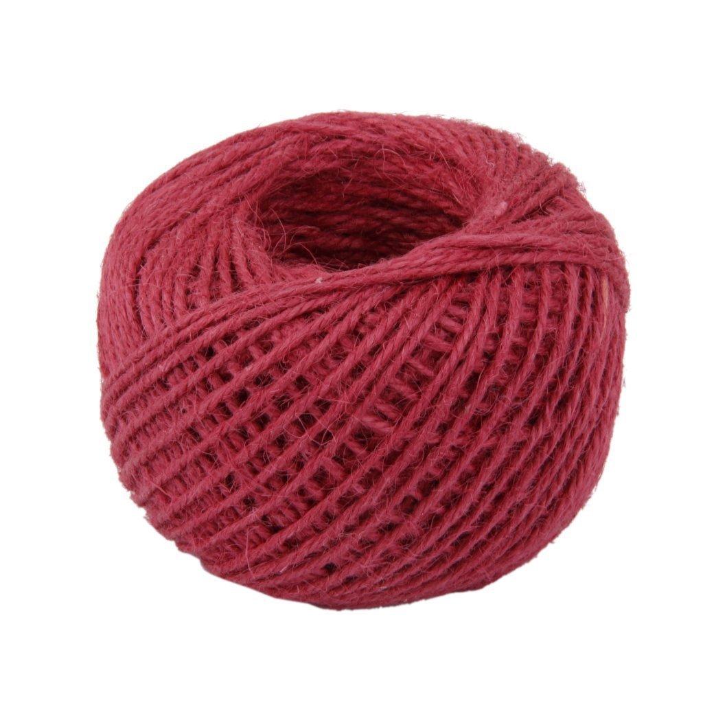 Danapp Corda di canapa colore tre trefoli corda 2 millimetri corda jewelled canapa naturale 50 metri (Profondo rosso)