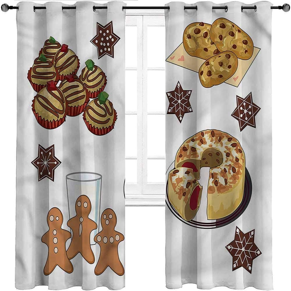HouseLookHome Bedroom Curtain Cookie Privacy Window Treatment Curtains/Panels/Drapes Gingerbread Man Sweet Cake for Home/Kitchen/Drawing Room 2 Grommet Top Curtain Panels, 52