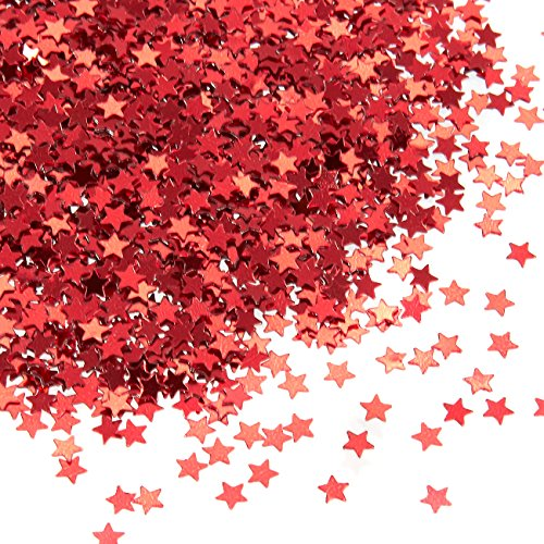 (Star Confetti - Metallic Glitter Foil Confetti Star Sequins - Ideal for Balloons, Tables, Art Crafts, Wedding Festival Decor, Bachelorette Party Supplies, DIY Decorations - Red, 0.1 inches,)