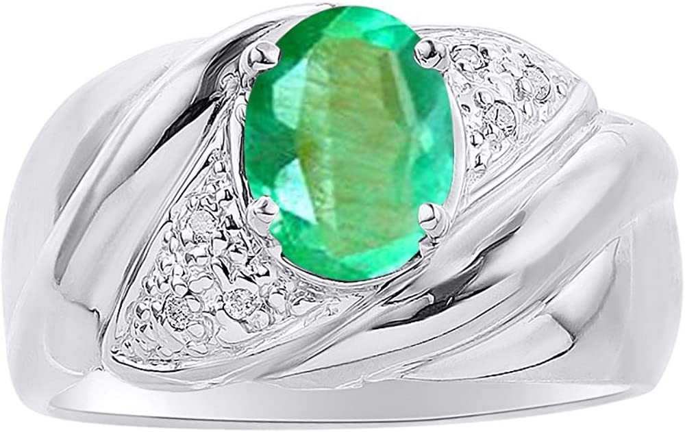 Diamond /& Emerald Ring Set In Sterling Silver Color Stone Birthstone Ring