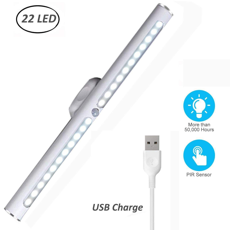 Motion Sensor LED Light Under Cabinet Lights USB Rechargeable 22-LED Closet Light Magnetic Removable Stick-On Anywhere Safe Light Bar for Drawer/Entrance/Kitchen/Restroom Mirror (2 Modes-Warm)