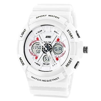 Panegy 50 M Digital resistente al agua reloj Digital de cuarzo reloj reloj de pulsera reloj para hombres color blanco: Amazon.es: Deportes y aire libre