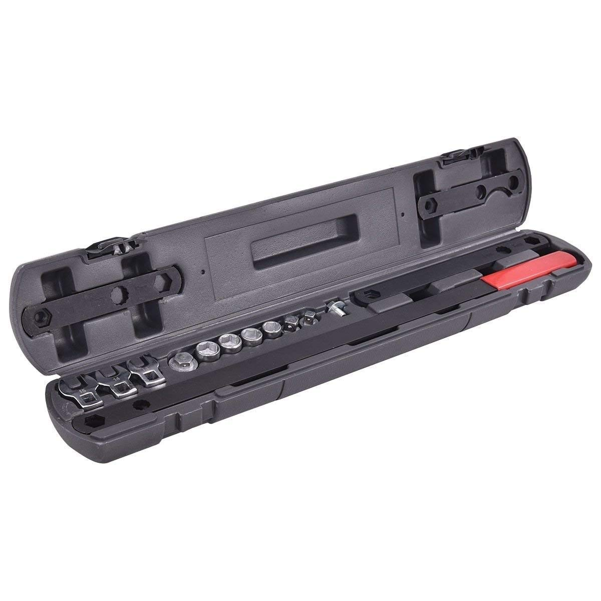 GOFLAME Wrench Set 16 PC Serpentine Belt Tool Set Adjustable Tightener Wrench Tool Ratcheting Wrench,3/8'' 1/2'' Drive
