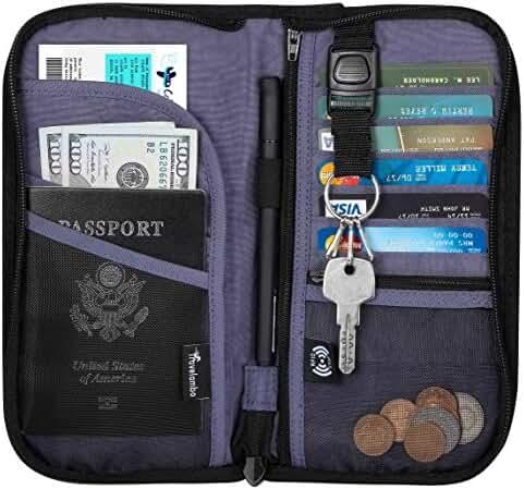 Travelambo Travel Wallet Passport Holder Wallet RFID Blocking Credit Card Holders for Men & Women