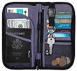 Travelambo Travel Wallet Passport Holder Wallet RFID Blocking Credit Card Holders for Men & Women (black/blue)