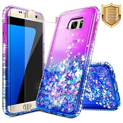 S7 Edge Case, Galaxy S7 Edge Glitter Case w/[Full Coverage Premium Screen Protector], NageBee Liquid Quicksand Flowing Shiny Sparkle Bling Diamond Cute Case for Samsung Galaxy S7 Edge -Purple/Blue