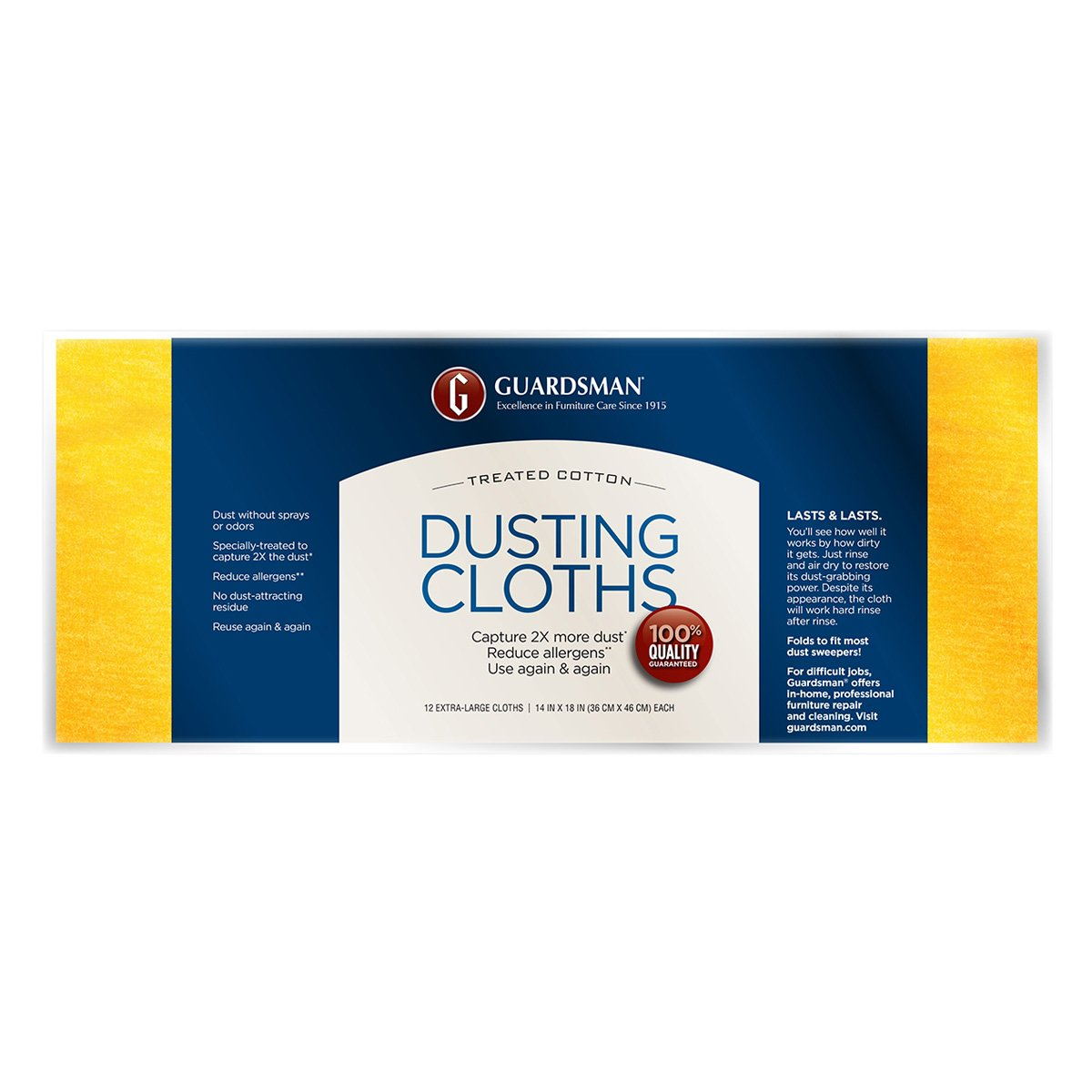 (24) packages Guardsman Products 462500 12 Pack, Ultimate Cotton Dusting Cloth
