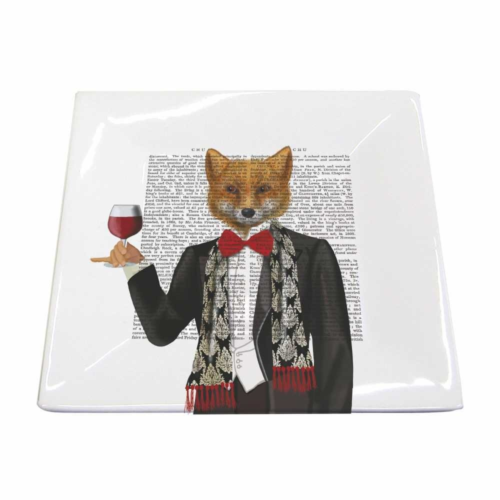 Paperproducts Design 28216 Small Square Plate Featuring Lord Philip Design, Black/Red/Brown
