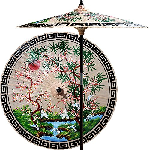 Oriental-Decor 7 Foot Tall Hand-painted Patio Umbrella Asian Spring in Sand Tan, Handcrafted Bamboo Dual-Height Market Umbrella with Hardwood 2-Piece Pole ()