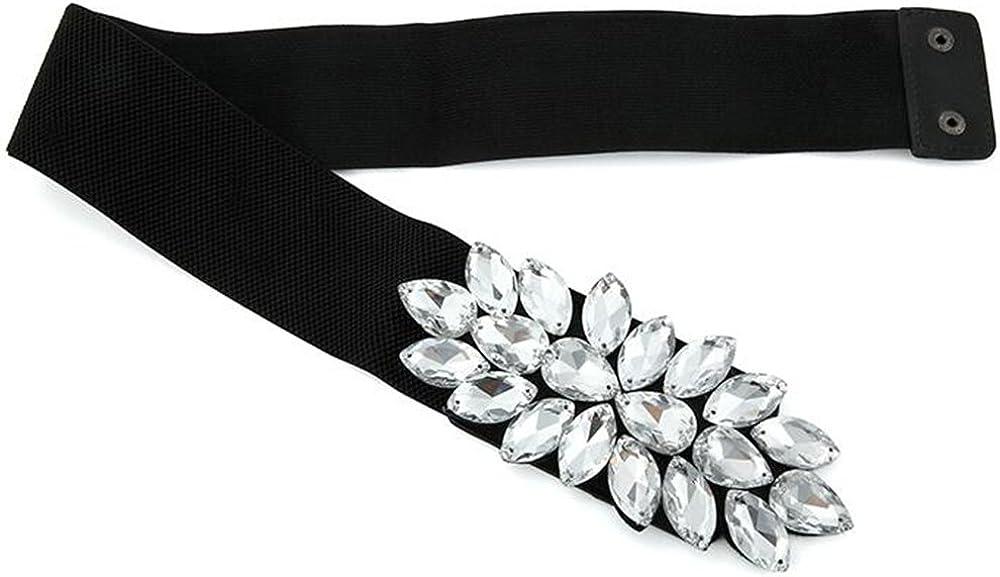 Womens Belt Fashion Fits All Rhinestones Elastic Stretch Corset Waist Belts
