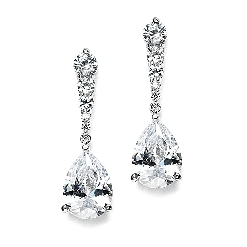 Mariell Pear-Shaped Cubic Zirconia Drop Earrings with Tapered Top - Great for Brides, Proms &amp...